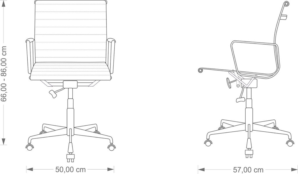 Technical drawing Aluminium Chair EA 117