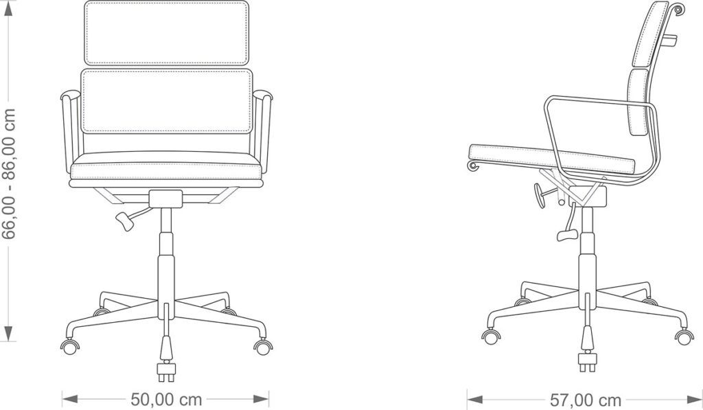 Eames Softpad EA 217 technical drawing