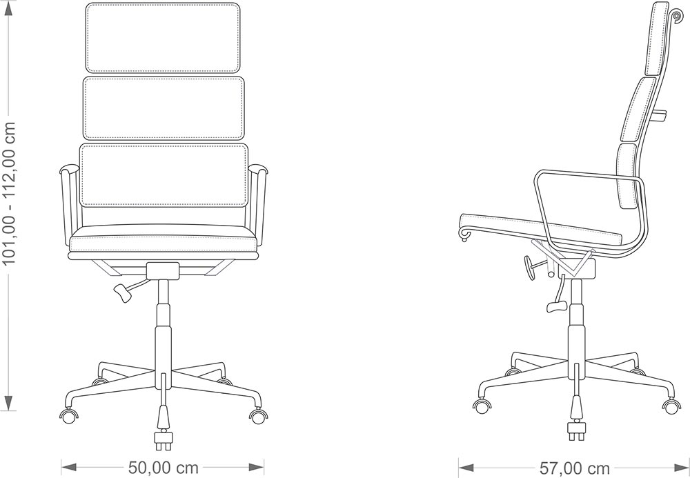 Eames Soft Pad Chair technical drawing