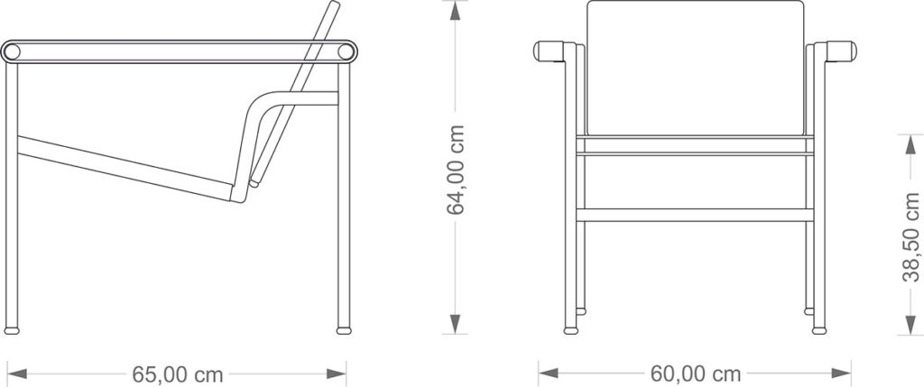 Technical Drawing Corbusier LC 1 Chair