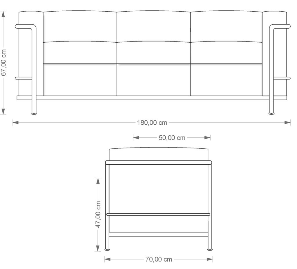Technical drawing LC 23 sofa