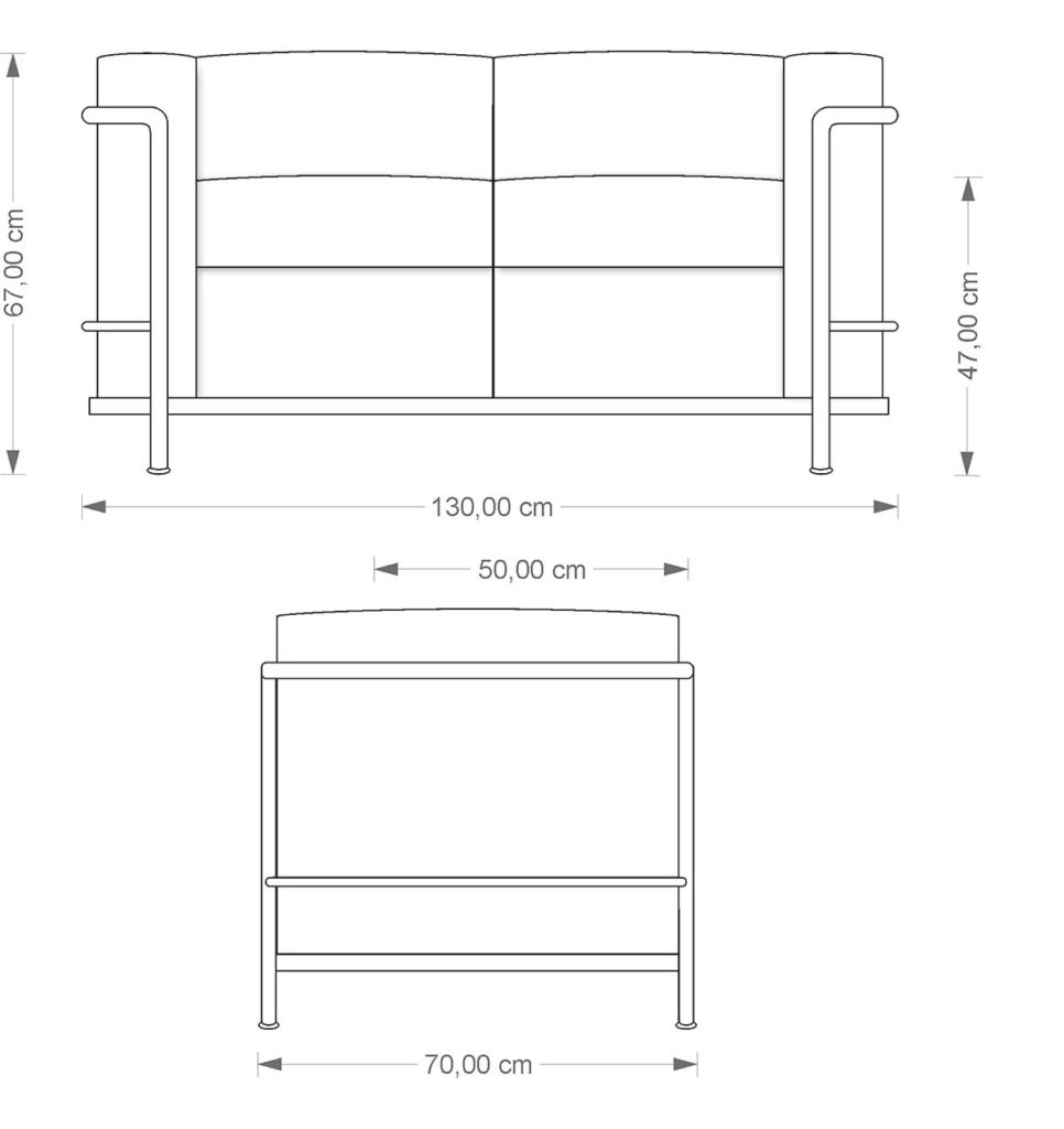 Le Corbusier LC 2 Sofa technical drawing