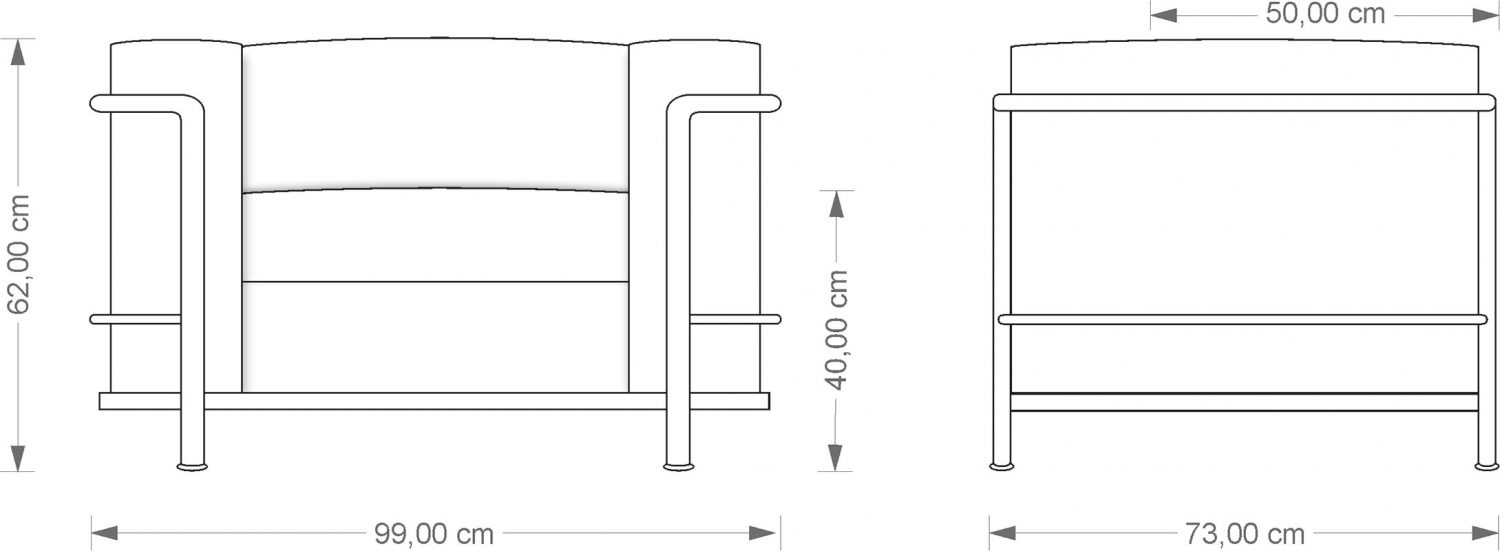 Technical drawing Corbusier LC3 Armchair