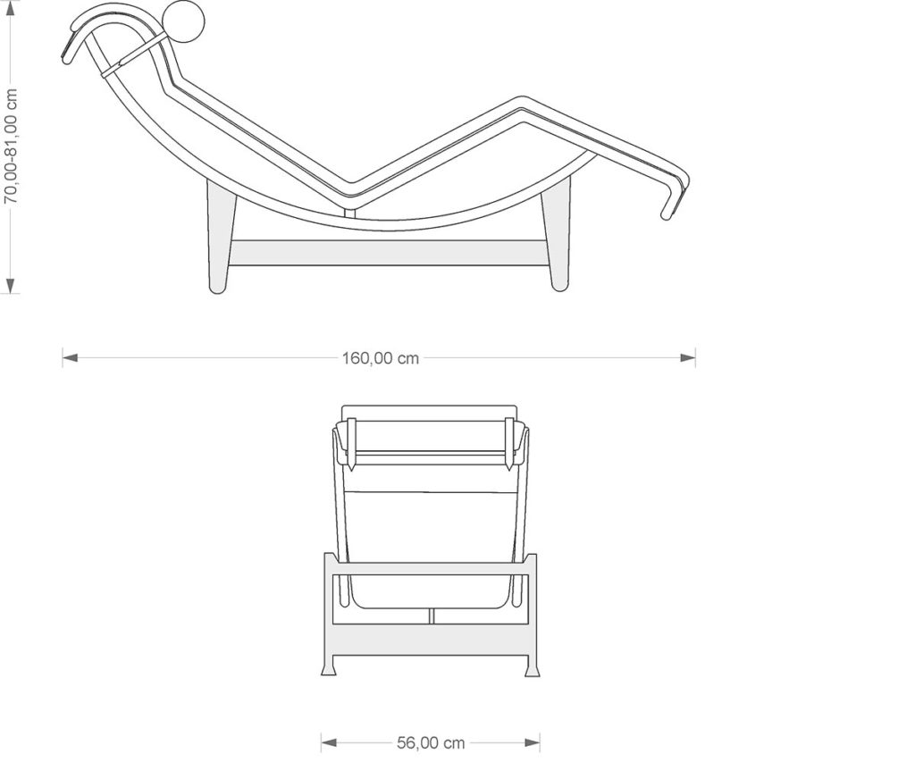 Lc 44 chaiselongue steelform the best reproductions of for Chaise longue dwg
