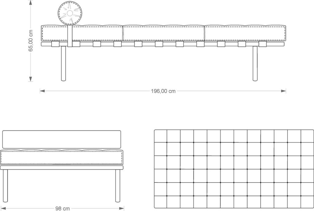 Barcelona DayBed technical drawing