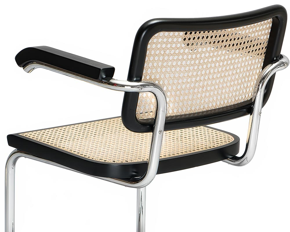 Chrome plated frame on Breuer Cesca B 64 chair