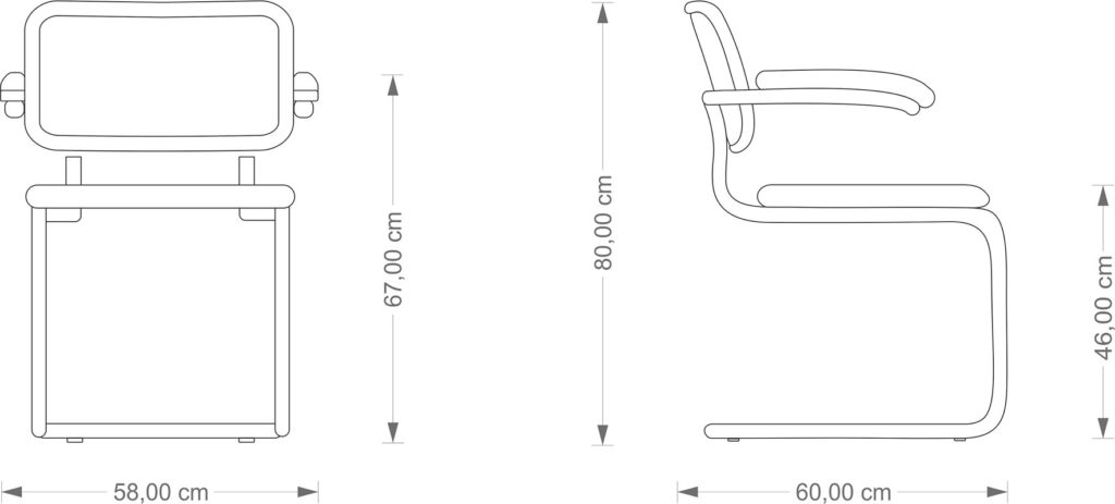 Technical Drawing Marcel Breuer Cesca Armchair