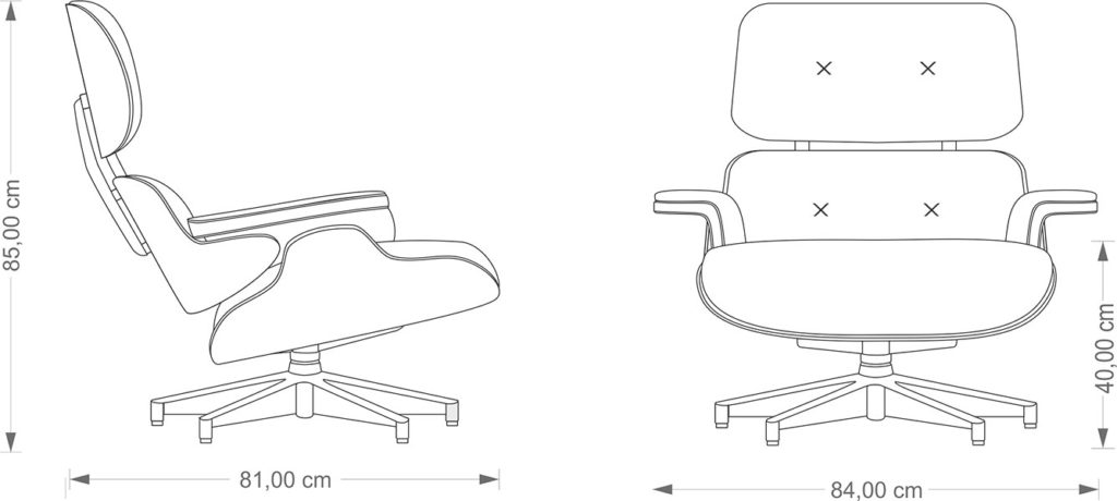 Charles Eames Lounge Chair technical drawing