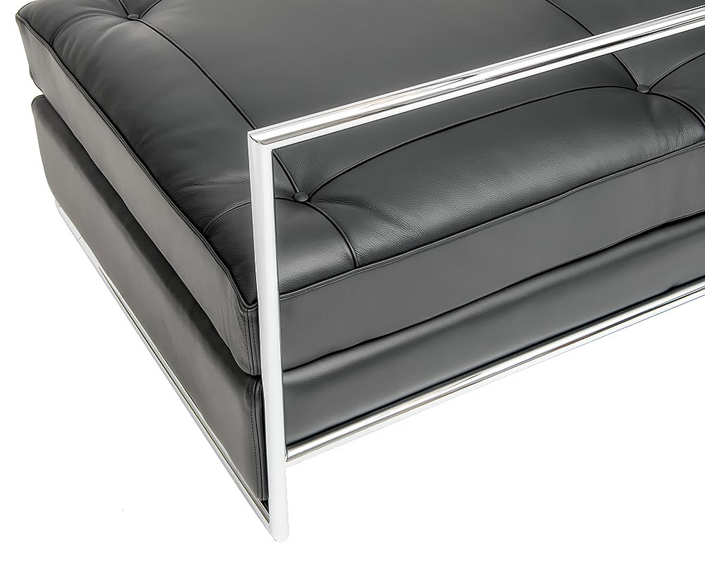 Chrome frame on Eileen Gray Daybed
