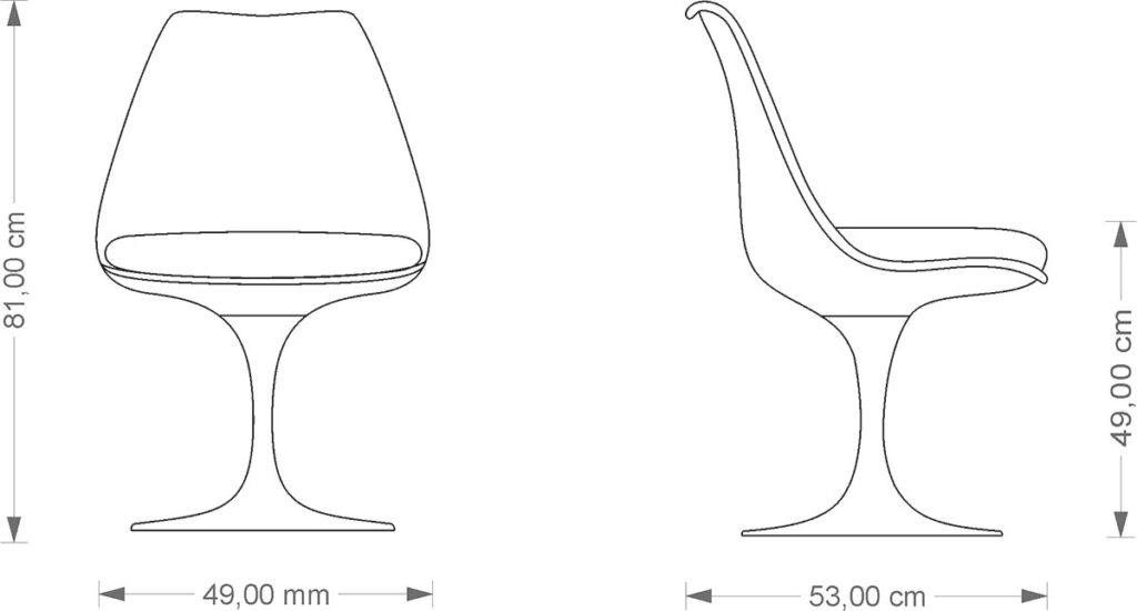 Technical drawing Eero Saarinen Tulip Chair