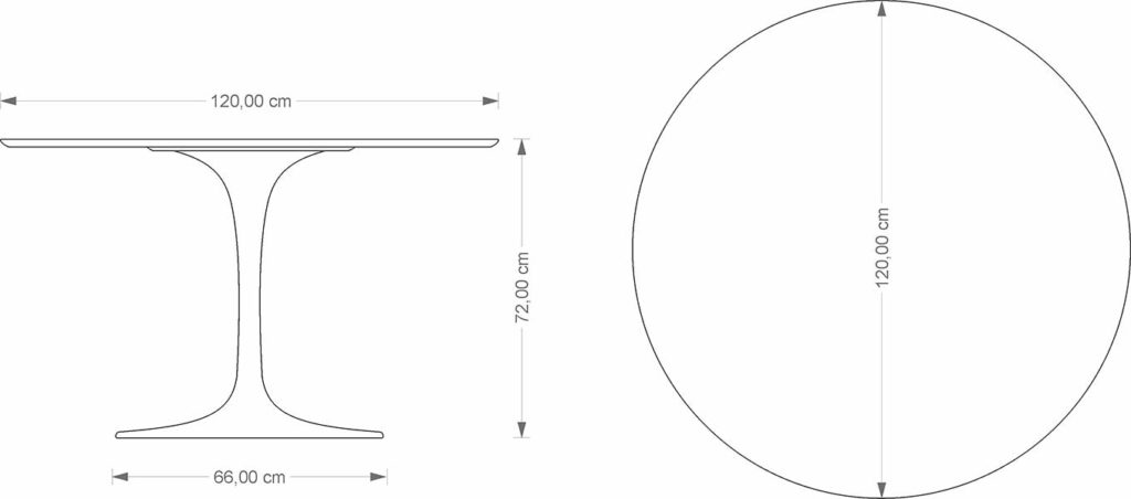 Eero Saarinen Tulip Table technical drawing
