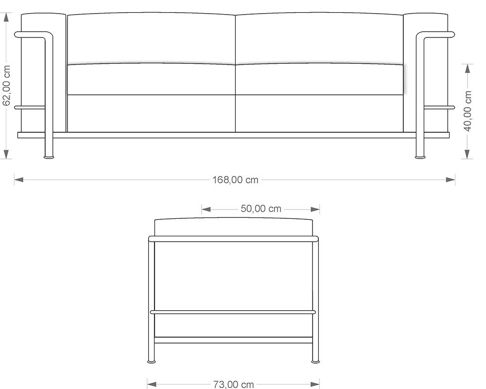 technical drawing Corbusier LC32 sofa